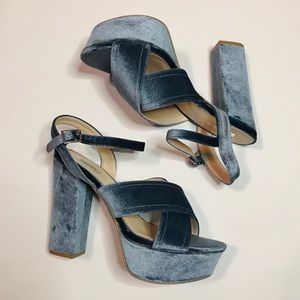 Qupid Velvet Platforms Baby Blue